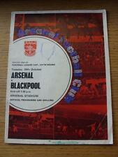 29/10/1968 Arsenal V BLACKPOOL FOOTBALL LEAGUE CUP [] (piegati, pesanti scritte THR