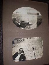 2 old photographs of man on penmaenmawr and llandudno beach c1930s