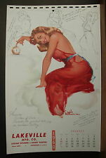 Withers Pinup Calendar Page January 1960 Aurora Goddess of Dawn Go To Bed Early