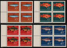 OPC 1964 Germany Fish Set Sc#B396-B399 Mi#412-415 Margins Blocks MNH VF