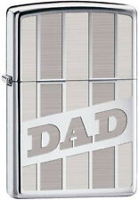 "Zippo Classic Strip Engraved ""DAD"" Fathers Day High Polish Chrome Lighter 28374"