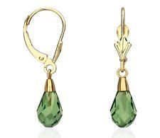14K Solid Yellow Gold Tear Drop Shaped Emerald Dangle Drop Leverback Earrings