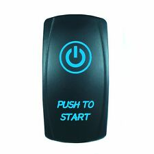 Laser Rocker Switch MOMENTARY Push Button Blue LED PUSH TO START (ON)/OFF