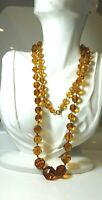 "Long Citrine Topaz Faceted Crystal Glass Graduated Flapper 36"" Necklace CA 14"
