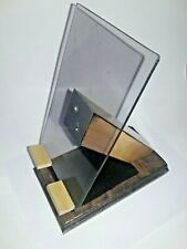 Handmade Tablet Cell Phone Wooden Plexi Stand Organizer Stained Wood