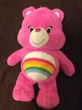 "20"" Care Bears CHEER BEAR Just Play Plush Stuffed Animal Doll Pink Rainbow 2014"