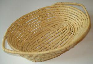 Vintage Wicker Rattan Woven Basket Wall Hanging Bread Basket Handmade in Jamaica