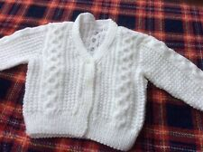 new hand knitted baby cardigans 3 - 6 months Aran Style  White Boy Or Girl