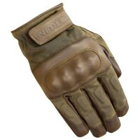 Merlin Ranton wax and leather motorcycle gloves - Brown / Olive - All Sizes