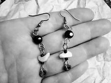 Onyx Earrings, Copper Wirewrap Beaded Stone Earrings, Dangle Drop Bead Earrings