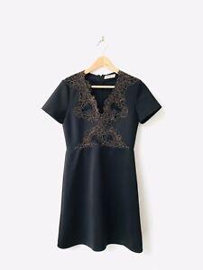 Sandro Scuba Gold Lace Detail Mini Dress Size 3 UK 10-12