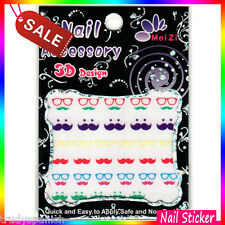 Nail Art Stickers Decals Transfers Black Moustache Movember Neon Nail Art