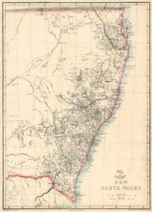 'New South Wales'  & Gold Coast/Brisbane. State map. Australia. WELLER 1863