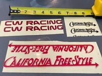 *VINTAGE OLD SCHOOL CW RACING CALIFORNIA FREESTYLE BMX FRAME STICKER SECONDS