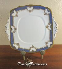 Roslyn China England Porcelain Cobalt Blue and Gold Square Cake Plate