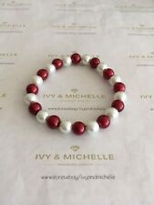 Multi-Color Glass Pearl Red, White Beaded Stretch Bracelet