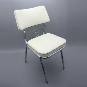 Vintage Delchrome Dinettes Diner Chair Vinyl Padded Chrome Dining Room D&L Mfg.