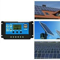 1*Solar Panel Battery Charge Controller 12V/24V LCD Auto Regulator USB Dual Y4D8