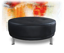 Round Large Leather Stool Sitting Pouf Ø 77 Cm.echtleder Black