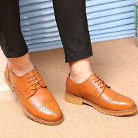 2018 Men's Retro Oxford Wing Tip Carved Brogue Lace Up Dress Casual Formal Shoes