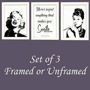 Print Wall Art Set of 3 Marilyn Monroe Audrey Hepburn Monochrome A3 A4 Poster