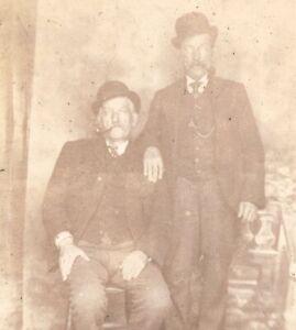 2 gentleman portrait Fine Art Studio CDV Carte de Visite photograph antique