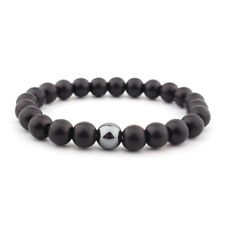 2 Pcs/Set Men's Natural Stone Matte Black CZ Charm Copper Bead Bracelets Gifts