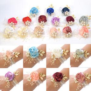 Beautiful Hand Pearl Flower Wedding Party Bracelet Bridesmaid Wrist Corsage Deco