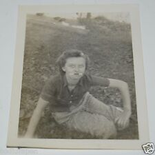 WOW Vintage Woman w/ Two Cigarettes Smoking Black & White 1940s Photo Photograph
