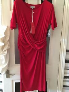 Pure Collection red fitted evening party Christmas dress size 18 stretch jersey