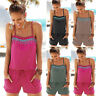 Womens Holiday Mini Playsuit Jumpsuit Strappy Sleeveless Casual Romper Shorts