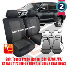 Toyota Prado 150 Series Seat Covers 2009-Current Airbag Safe Custom Fit 3 Rows