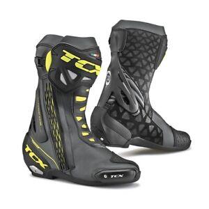TCX RT Race CE Motorcycle Motorbike Vegan Race Sports Boots - Black Yellow