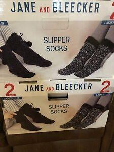 Lot Of 2Jane And Bleeker Slipper Socks4 Pair  Shoe Size-4-10 Black Super SoftNEW