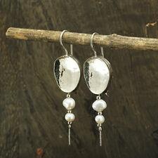 Impressive 925 Sterling Silver White Pearl Earrings Bridal Wedding Jewelry X395