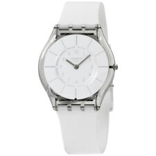Swatch Skin White Classiness White Dial Silicone Strap Ladies Watch SFK360