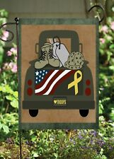 Military Honor Pickup Truck Double Sided Flag *Garden Size* Fg1343