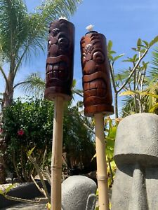 New Pineapple Head Tiki Torch set of 2 by Smokin' Tikis Hawaii fx