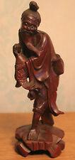Chine : Ancienne statuette en bois : Pêcheur