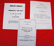 3 Manual Set of Pneumatic Lift-ALL IH Farmall A B AV Exhaust Lift Owner's Parts