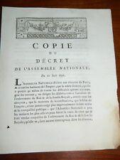 294-REVOLUTION 1791 fuite de Varennes: Maintient de la Constitution, salut de