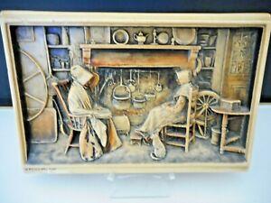"Antique Arthur Osborne IVOREX Plaque ""A Friendly Call"" Made in England"