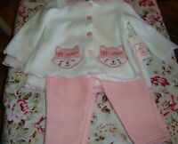 Swiggles BABY GIRL 2 Pc Outerwear Set Pink or Teal Kittens Newborn 0-3, 3-6  312