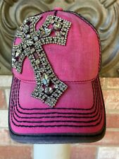 NWT Bling Rhinestone Cross Hot Pink 2 Tone Baseball Hat by Olive & Pique