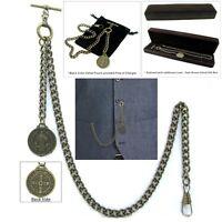 Albert Chain Pocket Watch Curb Link Chain Antique Brass Plating Fob T Bar AC42