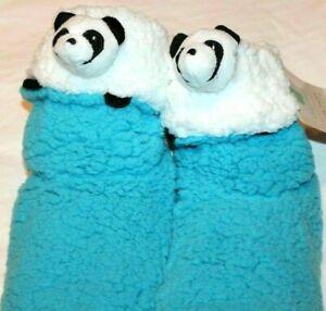Women's Animal Faces Cozy Sherpa Bootie Slipper Panda,Monkey,Sheep, Dog, Cat,Cow