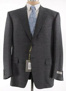 Canali NWT Sport Coat Size 48R In Black With Subtle Gray Check $1,395