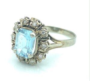 Magnificent Ring Gold 18 Carat -marguerite IN Aquamarine And Diamonds 0,20 Carat