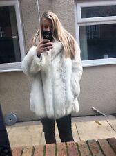 ❤ Real White Fox Fur Coat Veste Taille 8/10 Full peaux ❤