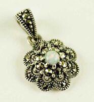 Jugendstil Floraler Markasit Anhänger Opal Silber Gothic Schmuck - NEU